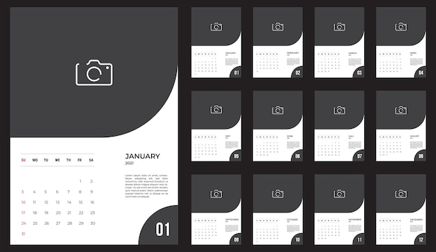 Calendario 2021 - ilustración. plantilla. la semana de maquetas comienza el domingo