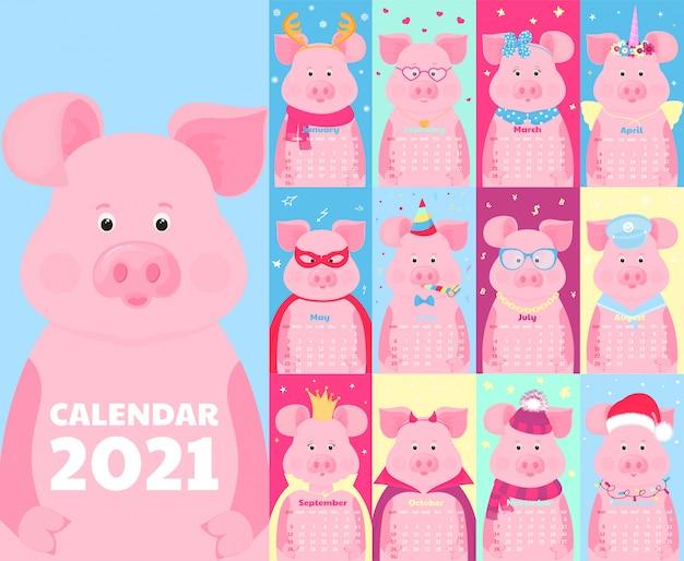 Calendario para 2021. la semana comienza el domingo. cerdos divertidos en diferentes disfraces.