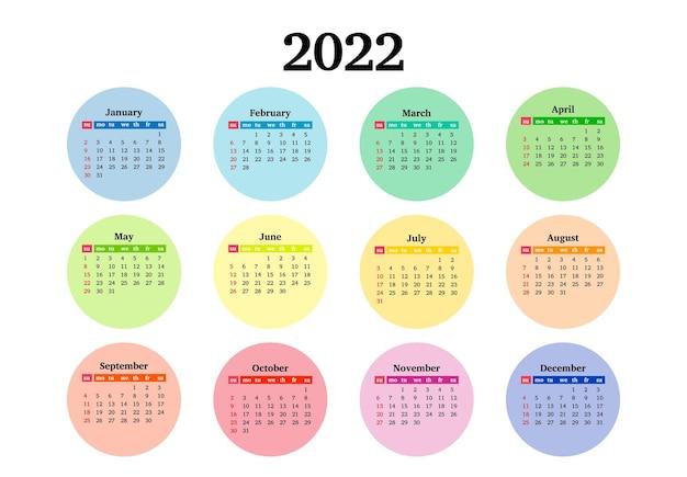 Calendario para 2022 aislado sobre fondo blanco. de domingo a lunes, plantilla de negocios. ilustración vectorial
