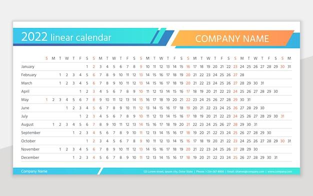Calendario 2022 año. planificador horizontal lineal. plantilla de calendario anual. cuadrícula de programación anual