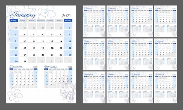 Calendario 2022 calendario floral vertical en un estilo romántico con flores de narciso dibujadas a mano