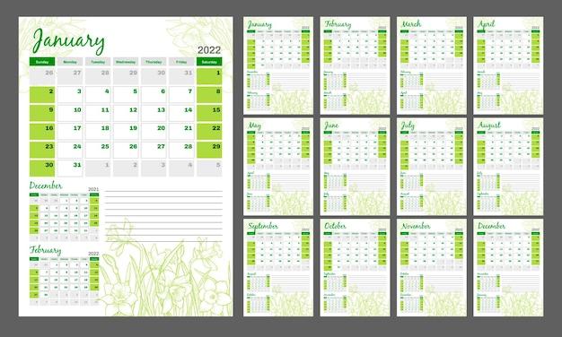 Calendario 2022 calendario floral vertical en un estilo romántico con narcisos dibujados a mano