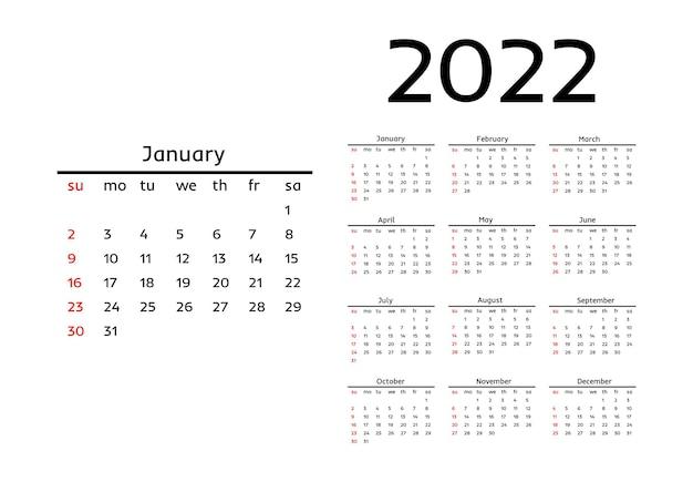 Calendario para 2022 con gran enero aislado sobre fondo blanco. de domingo a lunes, plantilla de negocios. ilustración vectorial