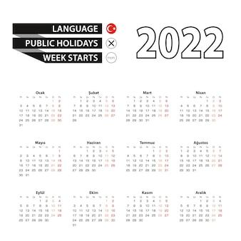 Calendario 2022 en idioma turco, la semana comienza el lunes.