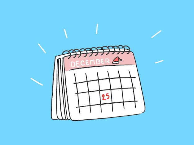 Calendario con el 25 de diciembre, concepto de navidad, ilustración de estilo de arte de línea dibujada a mano.