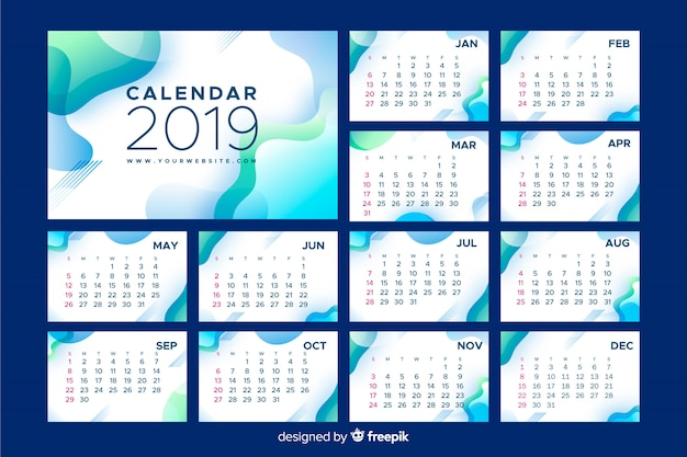 Calendario abstracto 2019