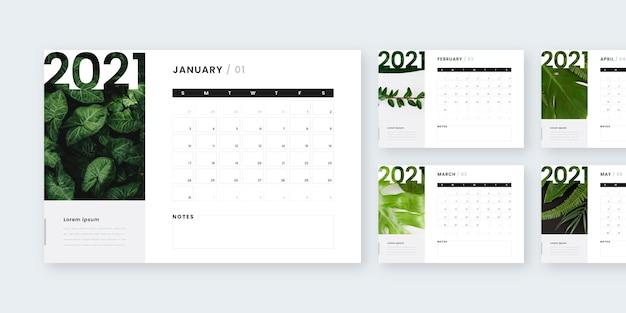 Calendario abstracto año nuevo 2021