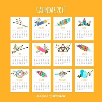 Calendario adorable con estilo indio