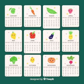 Calendario adorable de verduras y frutas estacionales
