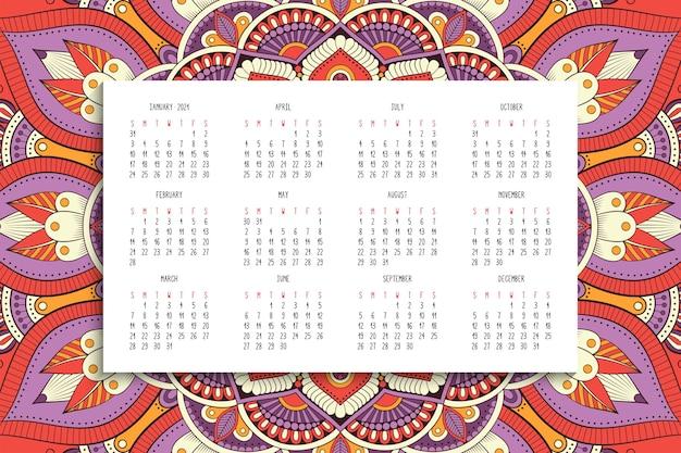 Calendario con adorno de mandalas