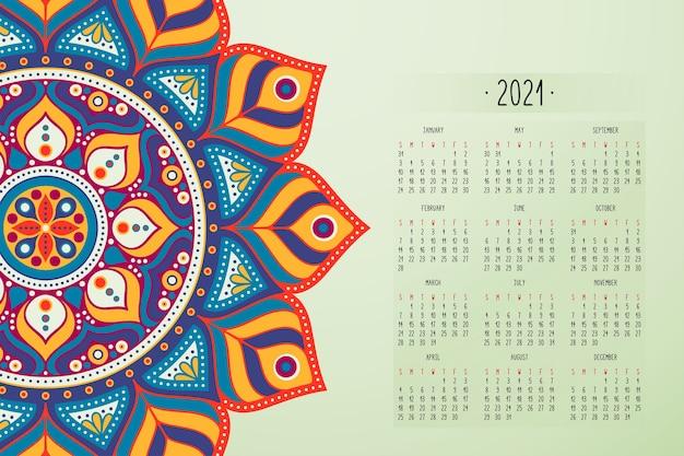 Calendario con adornos de estilo oscuro mandalas