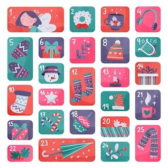 Calendario de adviento en acuarela creativo