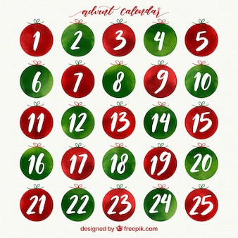 Calendario de adviento de acuarela en verde y rojo