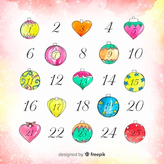 Calendario de adviento de acuarela