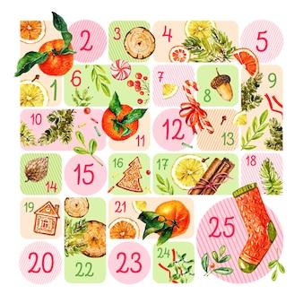 Calendario de adviento en acuarela