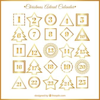 Calendario de adviento blanco y dorado