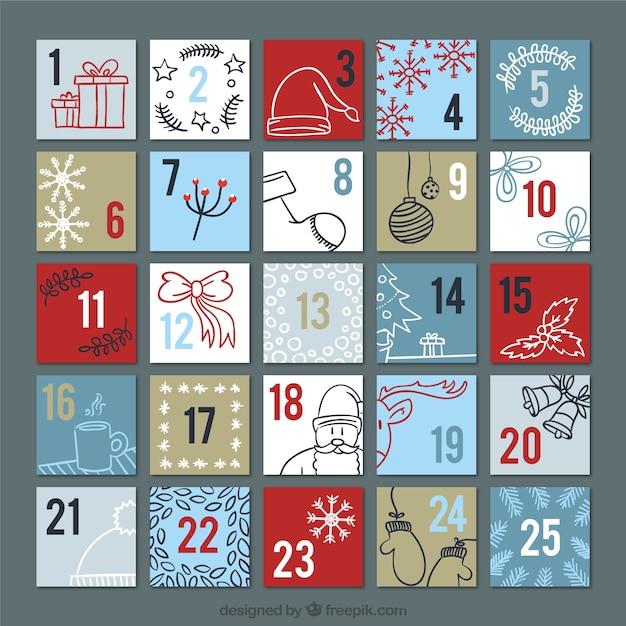 Calendario de adviento con bocetos navideños decorativos