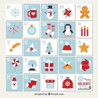 Calendario de adviento de bonita decoración navideña
