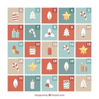 Calendario de adviento con bonitos elementos