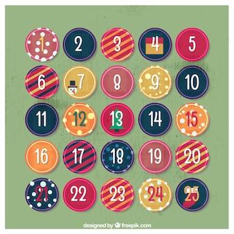 Calendario de adviento de círculos abstractos
