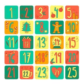 Calendario de adviento colorido dibujado a mano