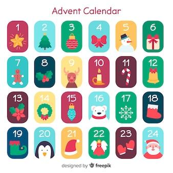 Calendario adviento colorido plano