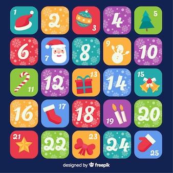 Calendario de adviento colorido