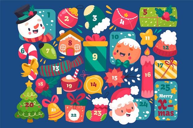 Calendario de adviento creativo con elementos festivos.