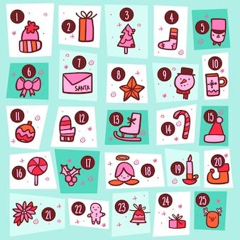 Calendario de adviento en cuadrados de varias formas.