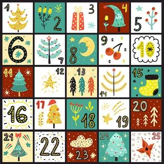Calendario de adviento. cuenta días hasta navidad