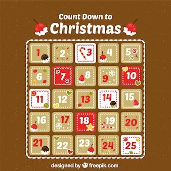 Calendario de adviento cuenta regresiva hasta navidad