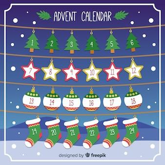 Calendario adviento decoración colgando
