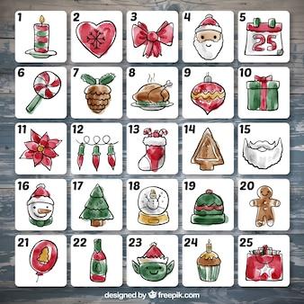 Calendario de adviento de decoración navideña de acuarela