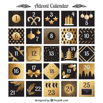 Calendario de adviento con decoraciones doradas