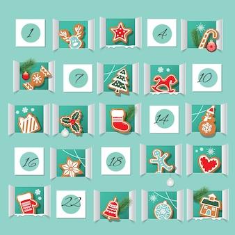 Calendario de adviento decorado. cuenta atrás para navidad.