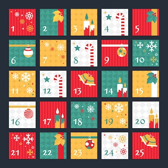 Calendario de adviento decorado de diseño plano
