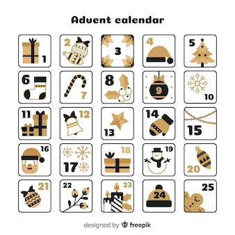 Calendario de adviento detalles dorados