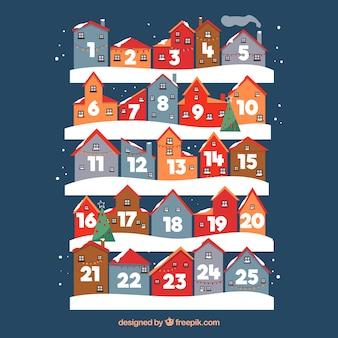 Calendario de adviento con días en forma de casas