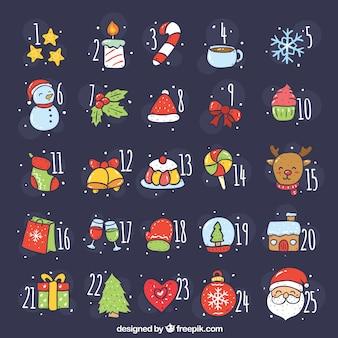 Calendario de adviento dibujado a mano con atributos de navidad
