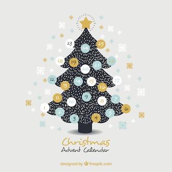 Calendario de adviento dibujado a mano en forma de un árbol de navidad