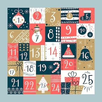 Calendario de adviento dibujado a mano ilustración