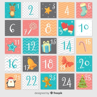 Calendario adviento dibujado a mano