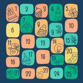 Calendario de adviento dibujado a mano