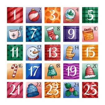 Calendario de adviento de diseño de acuarela