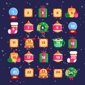 Calendario de adviento de diseño plano con regalos