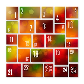 Calendario de adviento en diseño plano