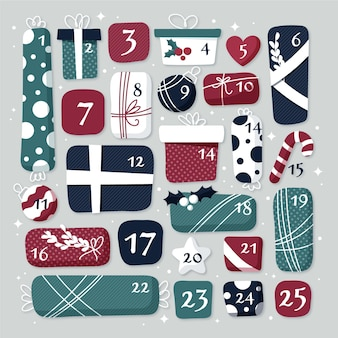 Calendario de adviento de diseño plano