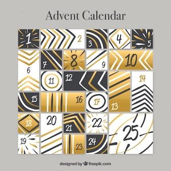 Calendario de adviento dorado con líneas