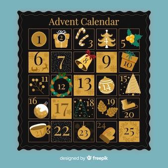 Calendario adviento dorado