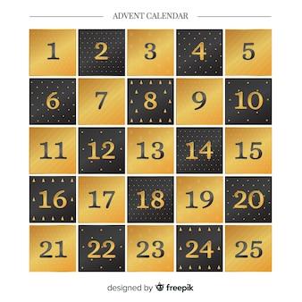 Calendario de adviento dorado